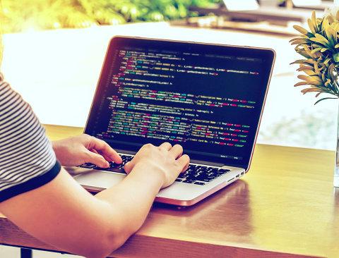 programmer coding on laptop